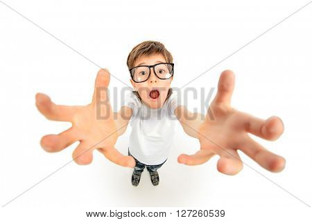 Funny boy in big glasses stretches his hands to the camera. Education. Isolated over white.