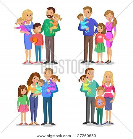 Set of typical family in love. Happy family portrait smiling parents and kids. Concept happy family family love. Vector illustration isolated on white