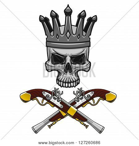 Cartoon crowned pirate skull with crossed vintage pistols instead crossbones. Great for Jolly Roger symbol or king of pirates mascot design usage