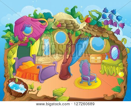 Vector illustration of fairytale fairy bedroom and dressing room
