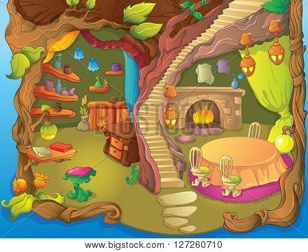 Vector illustration of fairytale fairy dinner room and library