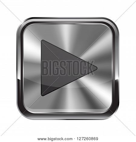 Metal button. With chrome frame. Play icon. Vector illustration isolated on white background
