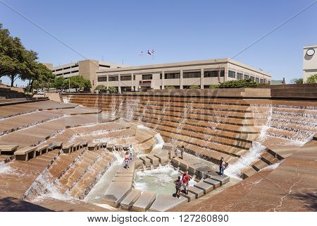 FORT WORTH TX USA - APR 6: Water Gardens in the city of Fort Worth. April 6 2016 in Fort Worth Texas USA
