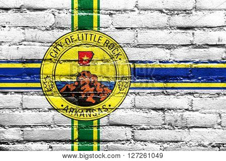 Flag Of Little Rock, Arkansas, Painted On Brick Wall