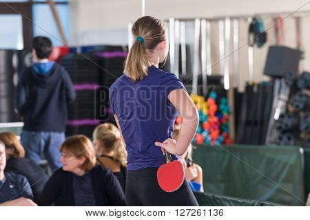 Moscow, Russia - December 16, 2012 - People playing ping pong