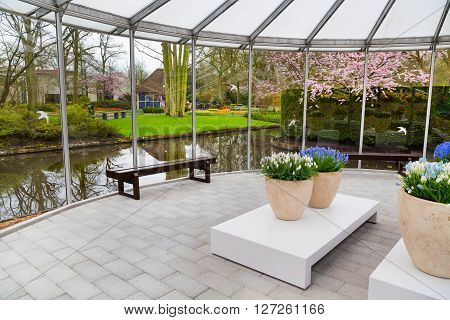 Lisse, Netherlands - April 4, 2016: Pavillion interior view of dutch spring garden Keukenhof, Lisse, Netherlands