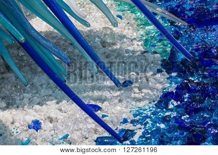 Detail of Blue Murano Glass Sculpture in Murano Venice - Italy