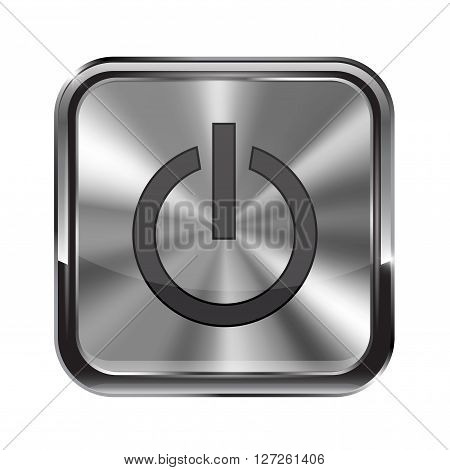Metal button. With chrome frame. Stand by icon. Vector illustration isolated on white background