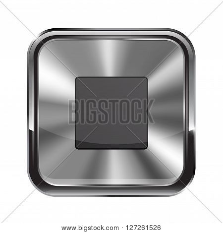 Metal button. With chrome frame. Stop icon. Vector illustration isolated on white background