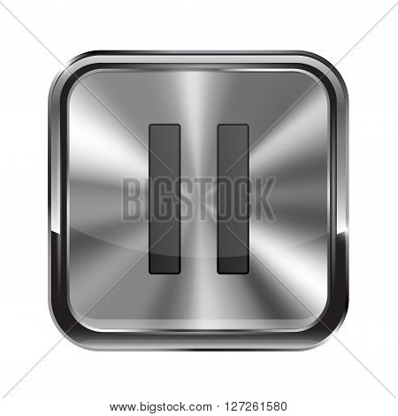 Metal button. With chrome frame. Pause icon. Vector illustration isolated on white background