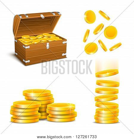 illustration of set of different bvalue of coins on white background
