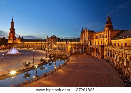 Spain Square (Plaza de Espana) after sunset. Seville, Spain