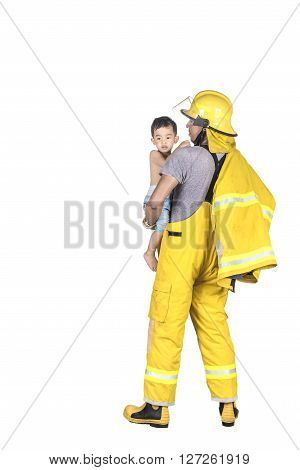 Fireman holding a boy isolated on white background Firefighter rescued child from the fire