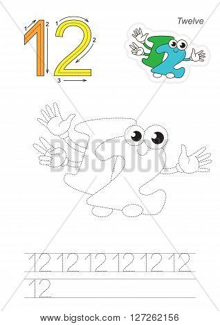 Vector exercise illustrated alphabet. Learn handwriting. Page to be traced. Complete english alphabet. Tracing worksheet for figure Twelve