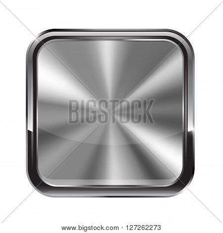 Square metal button. With chrome frame. Vector illustration isolated on white background