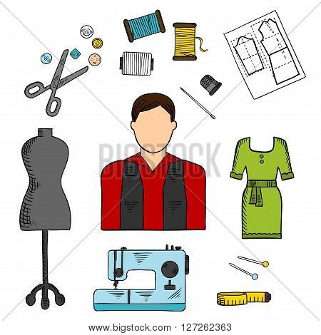 Fashion designer with sewing tools symbol for professions of service industry design with scissors, needles and pins, threads, sewing machine, mannequin, tailor tape measure, buttons and thimble, green summer dress and paper pattern. Sketch style