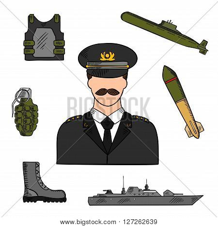 Military man surrounded by army, navy, marines and coast guards sketch symbols for armed forces design usage with colorful naval warship, torpedo, submarine, body armor, boots and grenade icons
