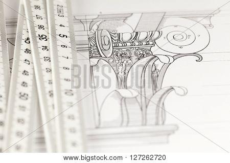 architectural drawing - detail column & folding ruler