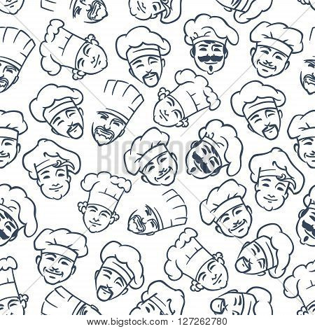 Chefs and bakers pattern with seamless gray sketches of happy smiling cooks in chef hats on white background. May be use as kitchen interior or textile print design