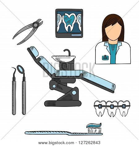 Dentist office with working place of female dentist, xray image of cracked tooth on display board, dentist chair with dental mirror, probe and pliers, toothbrush with toothpaste and teeth with braces. Sketch symbols for health care and dentistry design