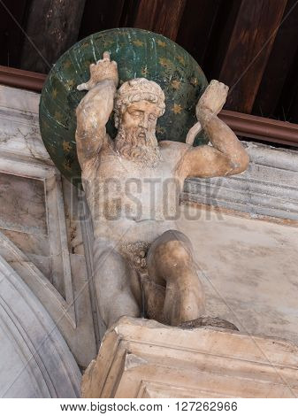 Statues Of Atlas: Entrance To The Golden Staircase In The Doge's Palace, Venice - Italy