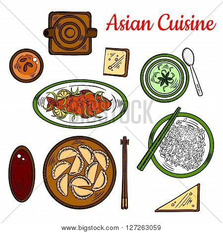 Thai deep fried fish with sweet and spicy lemon sauce, served with sticky rice, steamed dumplings and vegetarian green curry with soy sauce, wheat bread and herbal tea. Sketch icon for asian cuisine design usage