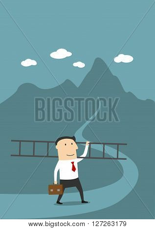 Career ladder, peak of career, top of success concept design. Cartoon businessman with ladder going to conquer summit of his career