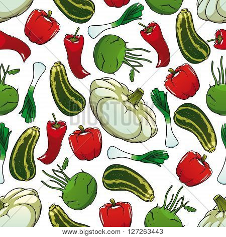 Colorful seamless pattern with sweet red bell peppers, striped green zucchinis, hot red chili peppers, crunchy kohlrabies, fresh leeks and pattypan squash on white background. Great for organic farming or kitchen interior design usage