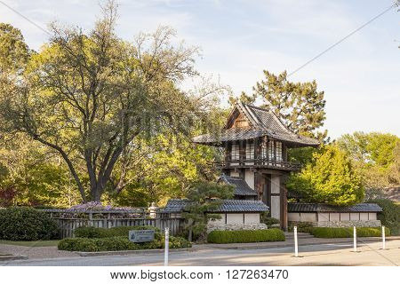 FORT WORTH TX USA - APR 6: Japanese pavilion at the botanical garden of Fort Worth. April 6 2016 in Fort Worth Texas USA