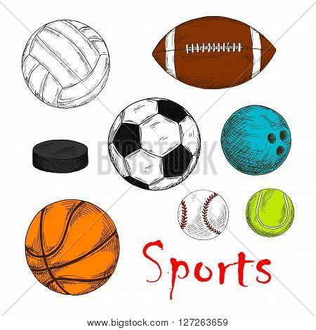 Colored sketch of sporting items for team games with ice hockey pucks and balls for soccer or football, baseball, rugby, volleyball, basketball and bowling. May be use as sporting club mascot or competition design