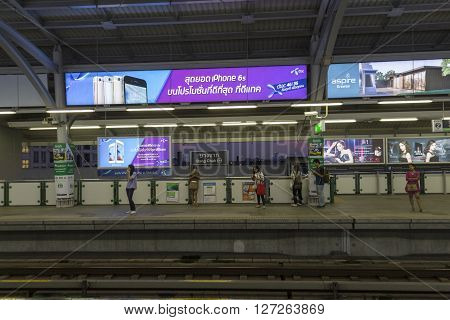 BANGKOK THAILAND - APR 8 : scene of unidentified people wait for skytrain in BTS Bang Chak station of bangkok on april 8 2016 thailand.