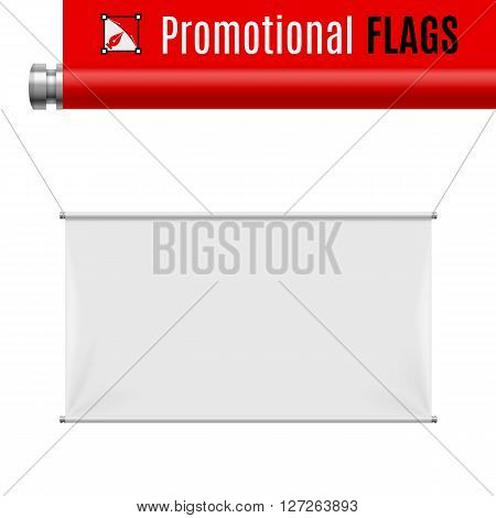 Gorizontal white promotional flag hanging on threads on a gray background