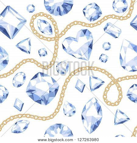 Golden chains and white gemstones seamless pattern on white background. Assorted diamonds vector illustration. Good for cover card banner poster luxury design.