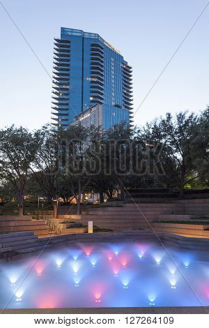 FORT WORTH TX USA - APR 6: The Water Gardens in the city of Fort Worth at dusk. April 6 2016 in Fort Worth Texas USA