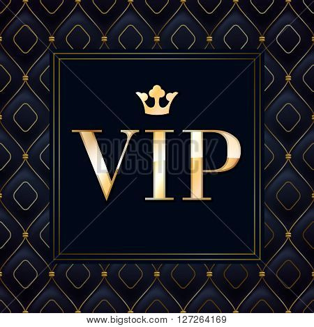 VIP abstract quilted background, diamonds and golden letters with crown.