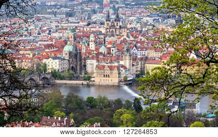 Prague , view of the Old Town and Charles bridge. Czech Republic.