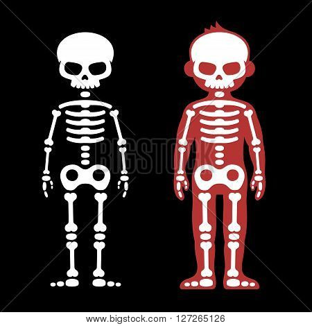 Skeletons Human Bones Set. Cartoon Style. Vector illustration