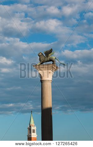 Winged Lion Column In St. Mark's Square And San Giorgio Maggiore Bell Tower, Venice - Italy