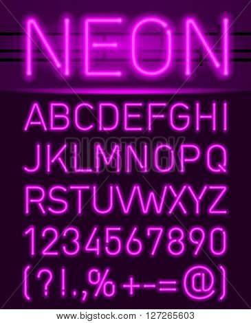 Purple set neon font and symbols isolated on black