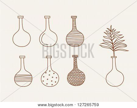 Doodle vases and flower design vector illustration