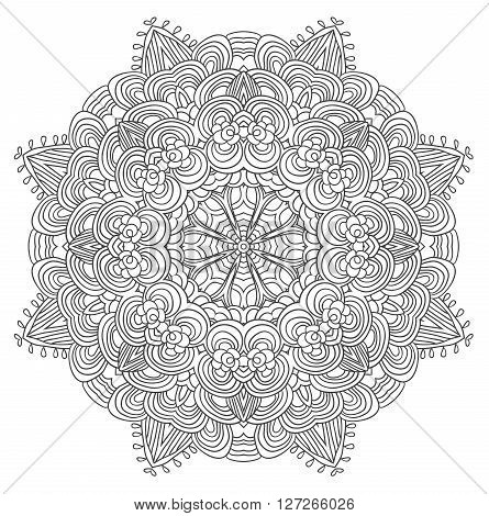 Black and white abstract pattern with leaves and flowers. Doodle. Hand drawn zentagles. Coloring book. Mandala. Vector.  Can be used as adult coloring book, coloring page. Sacred geometry