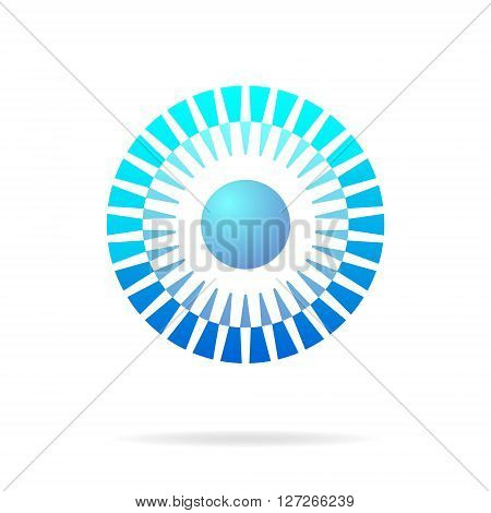 Abstract blue circle connection concept 2d vector icon eps 10