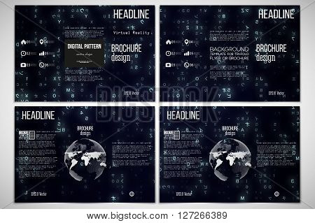 Vector set of tri-fold brochure design templates on both sides with world globe element. Virtual reality, abstract technology background with blue symbols, vector illustration.