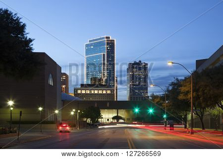 Street in the downtown of Fort Worth illuminated at night. Texas USA