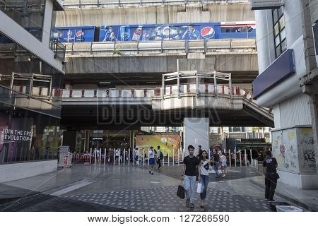 BANGKOK THAILAND - APR 10 : unidentified people at side of Siam Square One in Siam Square on april 10 2016 thailand. Siam square is famous shopping place of Bangkok