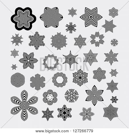 Snowflakes. Abstract Design Elements. Optical Art. Vector illustration.