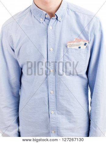 Money In Shirt Pocket Isolated