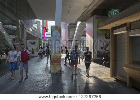 BANGKOK THAILAND - APR 10 : unidentified tourist walk in front of Digital Gateway in Siam Square on april 10 2016 thailand. Siam square is famous shopping place of Bangkok