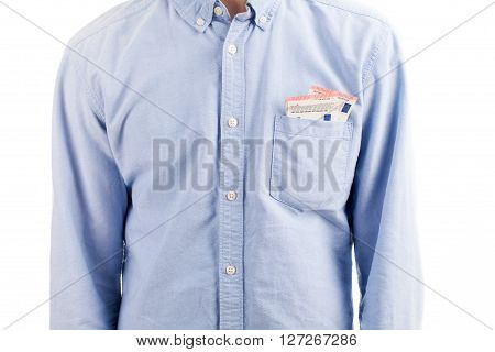 Man Shirt With Pocket Money Isolated