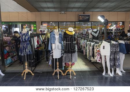 BANGKOK THAILAND - APR 10 : street clothes shop in front of Lido Multiplex of Siam Square on april 10 2016 thailand. siam square is famous shopping place of Bangkok